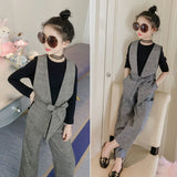 Spring 2020 Teenage Girls Clothing Sets Plaid Vest T Shirts Pants 3 Pcs Girls Outfit Kids Fashion Clothes 12 14 Years Suit