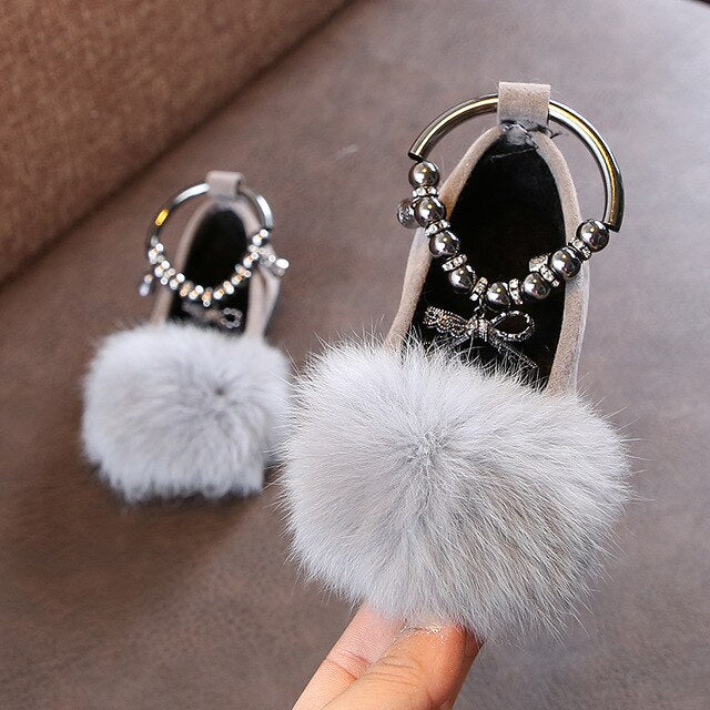2020 New Fur Flower Bow Girls Dress Princess Party Shoe For Child Wedding Shoes Baby Kids Leather Shoes 1 2, 3, 4, 5, 6 Years