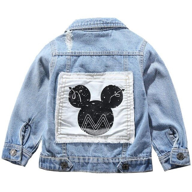 ¡New for Spring and Autumn 2020! Mickey Boys Denim Jacket, Boys and Girls Fashion Outerwear, Cartoon Holes Denim Coat for Kids 2-7 Years