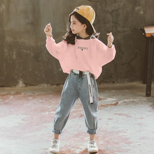 Spring 2020 Girls And Boys Clothes Set Hoodie And Loose Denim Pant 10 12 And 2 Pcs Teenage Outfits Kids Clothes