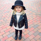 Autumn winter girl boy kids baby clothing leather coat short