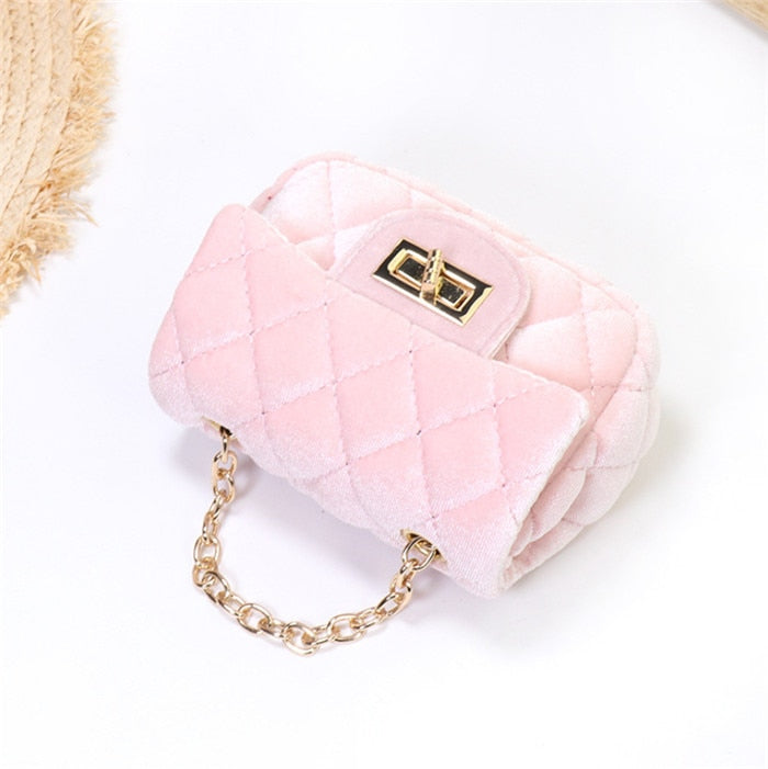 Mini 12cm kids shoulder bag high-end hot pink velvet bag PU party boy wallet for evening for party Popular winter kids bag