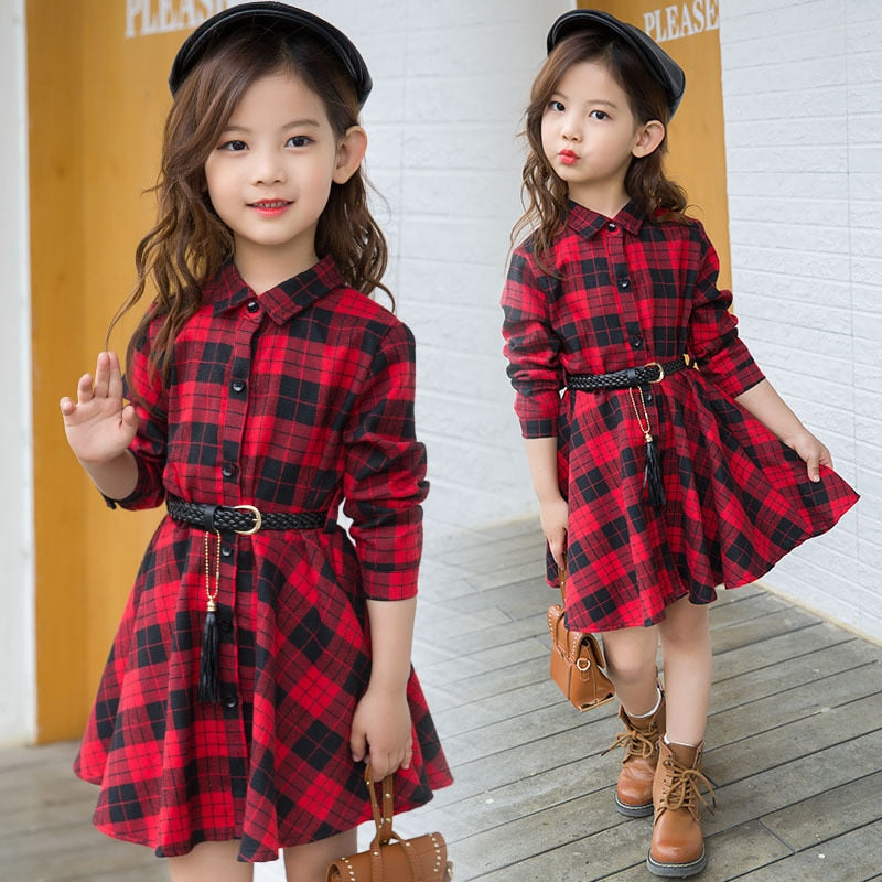 Elegant Girls Casual Long Sleeve Plaid Shirt Dress With Belt Fashion Teenager Blouse Dresses 4 5 6 7 8 9 10 11 12 13 Years