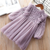 Girl Dresses Lantern Sleeve Princess Party Princess 2020 Spring Kids Lace Children Dress with Pearls Purple and White 3-7T