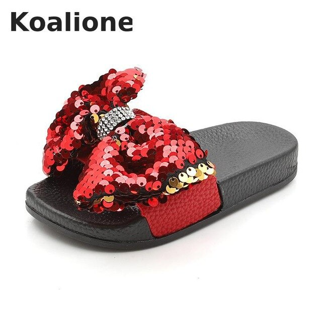 Girls Slippers Kids Shoes Summer Bow Sequin Slippers Outdoor Children Beach Shoes Baby Toddler Sandal Flat Indoor Home Flip Flop