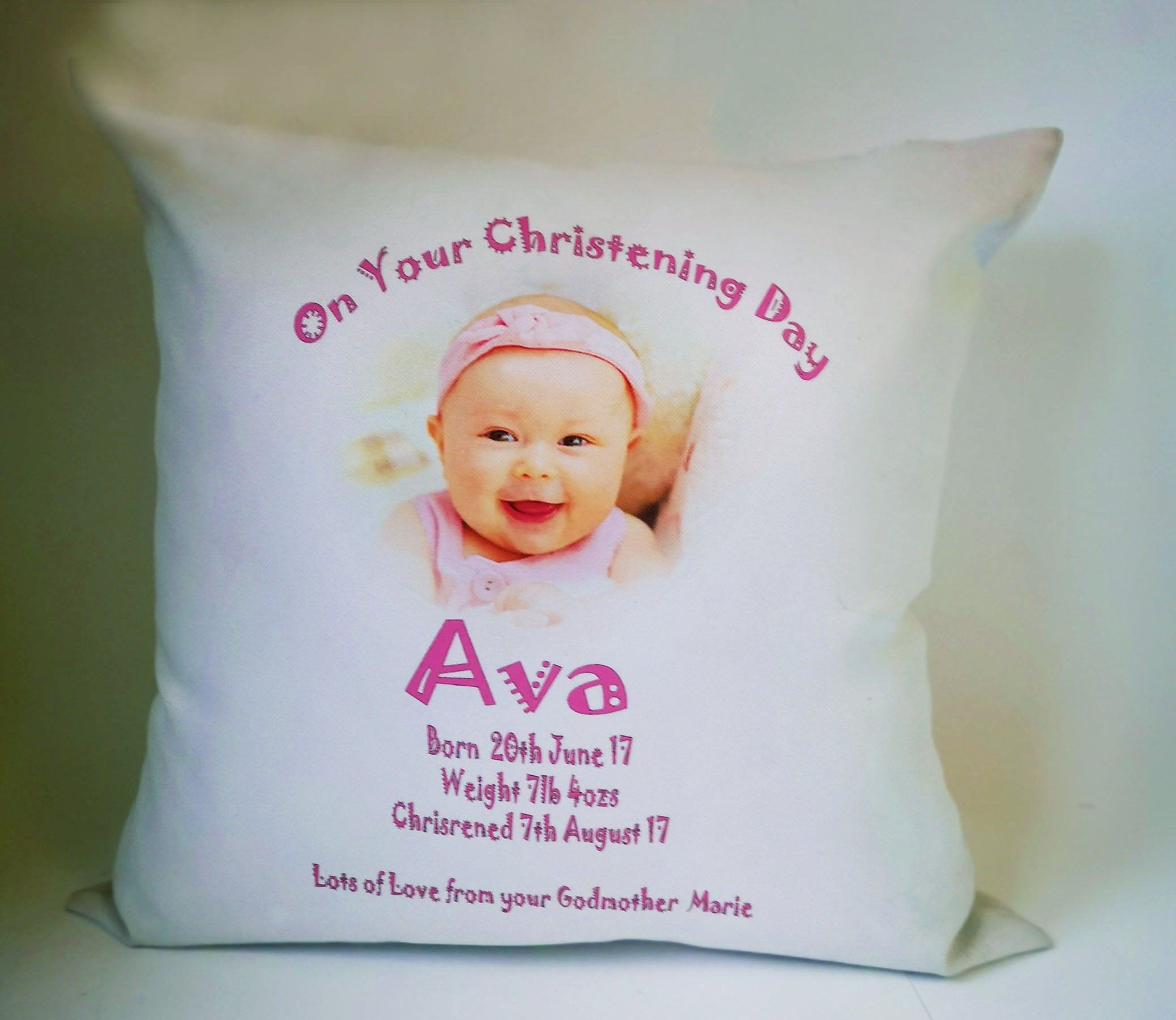 Christening Personalised Cushion Cover