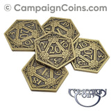 D20 Crits or Fails Coins, Gold (5)