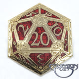 D20 Crit Pin, Red/Gold