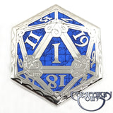 D20 Fail Pin, Blue/Platinum