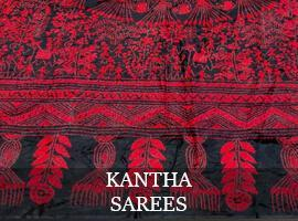Pure Silk Kantha Embroidery saree