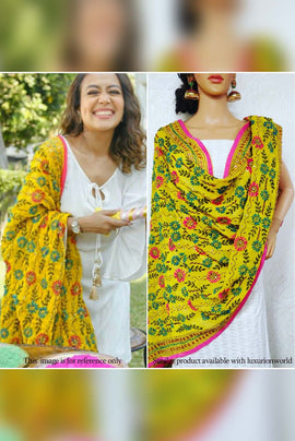 Yellow Hand Embroidered Phulkari Georgette Dupatta
