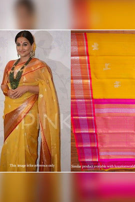 Yellow Handloom Pure Kanjeevaram Korvai Kora Silk Saree