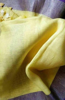 Yellow Handloom Bhagalpur Linen Dupatta - Luxurionworld
