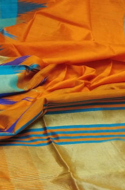 Orange Handloom Bhagalpur Raw Silk Saree with Temple Design Border - Luxurionworld