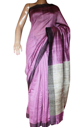 Purple Handloom Bhagalpur Tussar Silk Plain Saree - Luxurionworld