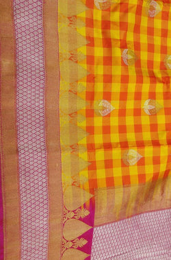 Yellow and Red Handloom Banarasi Pure Katan Silk Kadwa Buta Checks Saree