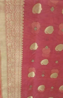 Pink Handloom Banarasi Pure Kora Silk Saree - Luxurionworld