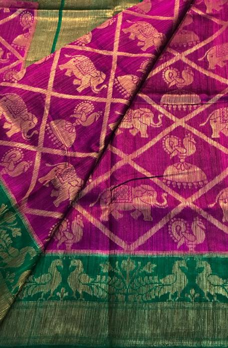 Purple Handloom Banarasi Dupion Silk Saree