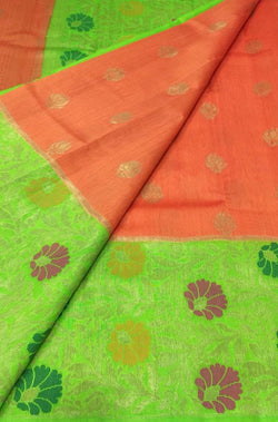 Orange Handloom Banarasi Meenakari Dupion Silk Saree - Luxurionworld