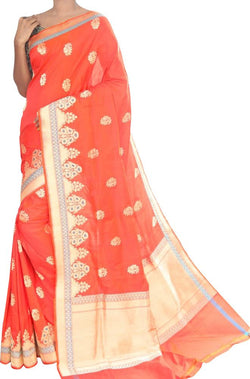 Orange Handloom Banarasi Pure Katan Silk Kadwa Buta Saree With Floral Design - Luxurionworld