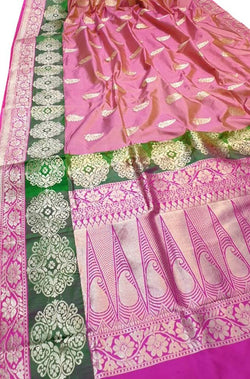 Pink Shot Color Handloom Banarasi Pure Katan Silk Saree With Floral Border