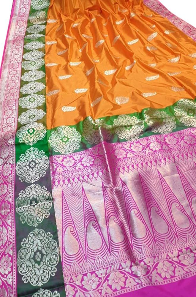 Orange Handloom Banarasi Pure Katan Silk Saree With Floral Border - Luxurionworld