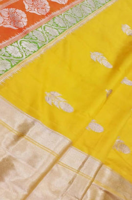 Yellow Handloom Banarasi Pure Katan Silk Big Border Saree - Luxurionworld