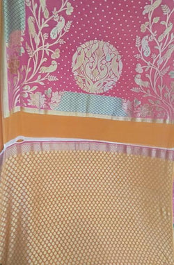 Yellow and Pink Handloom Banarasi Pure Georgette Suit Set Fabric