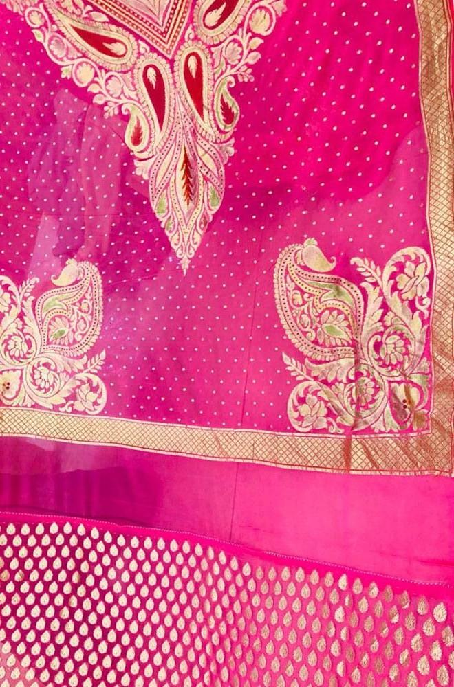 Pink Handloom Banarasi Pure Georgette Unstitched Suit Set - Luxurionworld