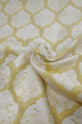 Yellow Chanderi Silk Fabric (2.5 mtrs) - Luxurionworld