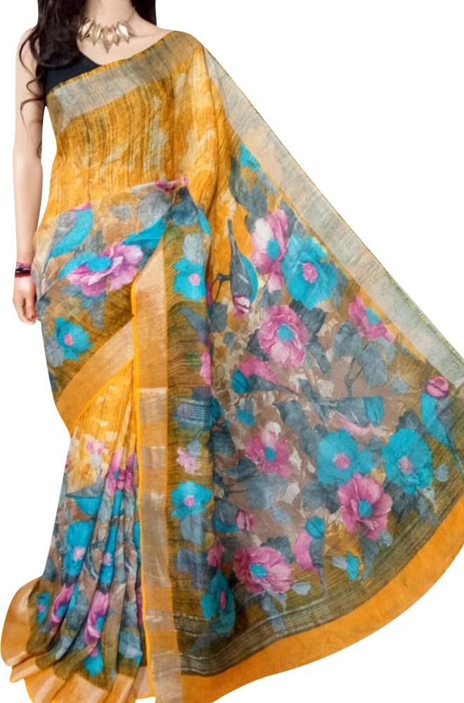 Orange Digital Printed Linen Saree - Luxurionworld