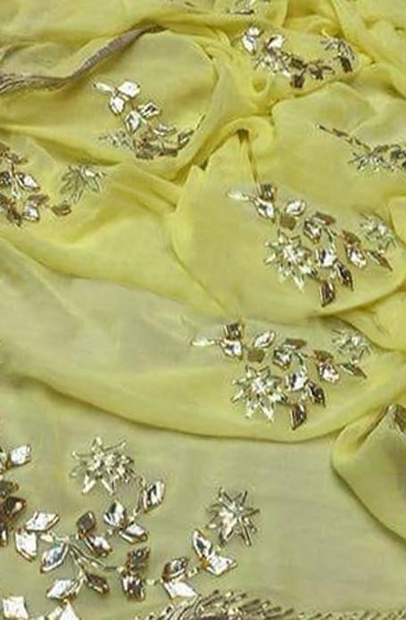 Yellow Gota Work Chiffon Saree