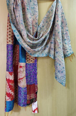 Multicolor Hand Embroidered Kantha Silk Stole