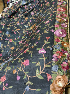 Black Hand Embroidered Parsi Work Crepe Multicolor Thread Work Dupatta