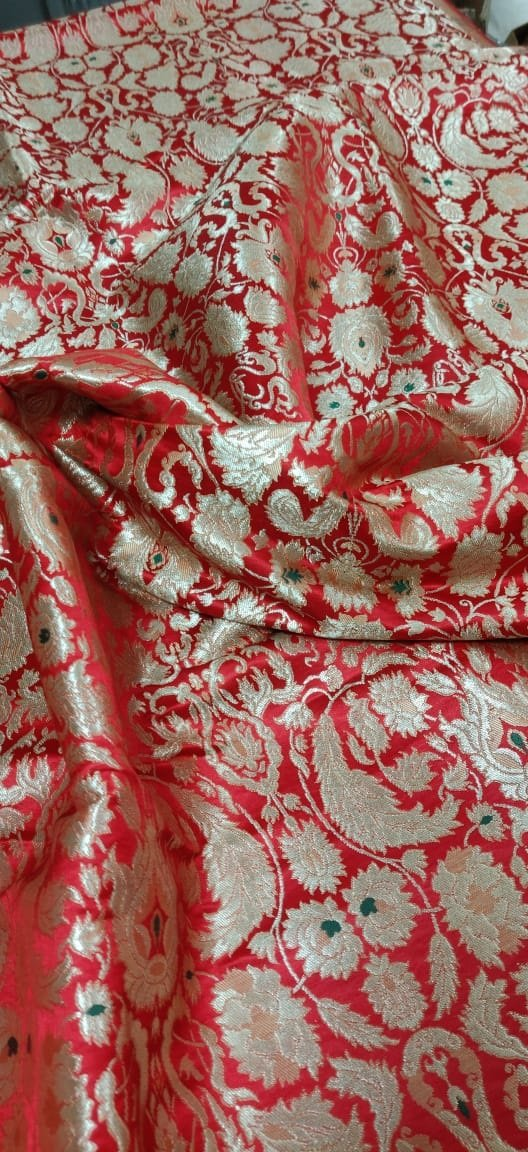 Red Banarasi Kim Khwab Silk Fabric (1 mtr)