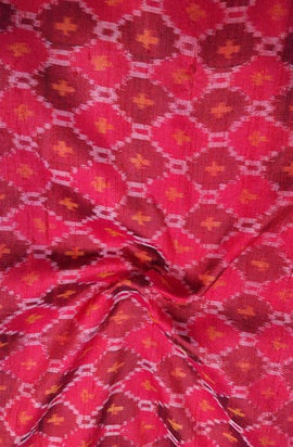 Red Handloom Ikat Pure Raw Silk Fabric(2.5Mtrs)