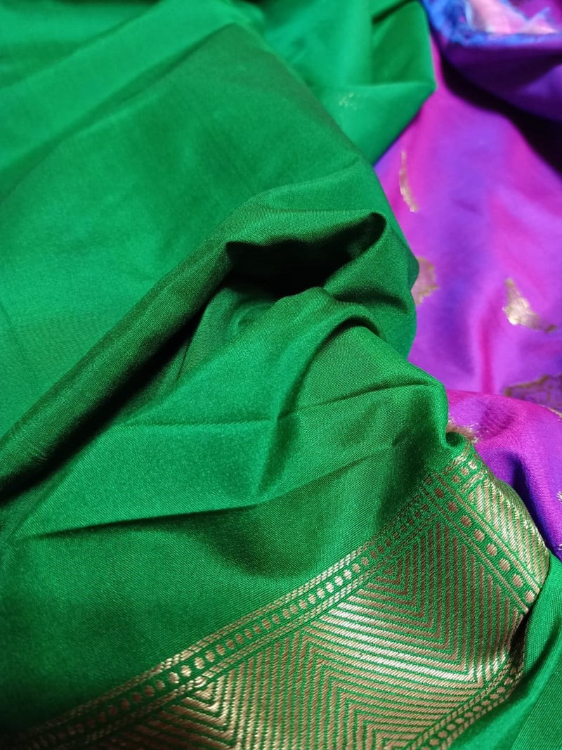 Purple Handloom Banarasi Silk Saree
