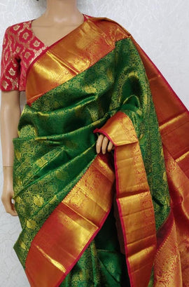 LWIS1K2PC1071401_Green_Handloom_Kanjeevaram_Pure_Silk_Saree