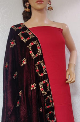 Red Silk Suit with Velvet Embroidered Dupatta