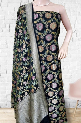 Black Banarasi Brush Dye Pure Georgette Suit