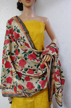 Yellow Handloom Pure Linen Unstitched Suit With Kantha Work Dupatta