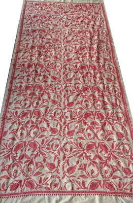 Red Hand Embroidered Kantha Tussar Silk Dupatta - Luxurionworld