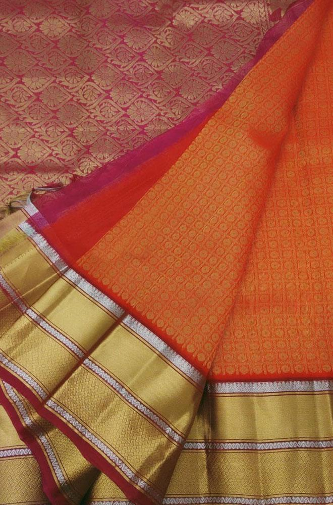 Orange Handloom Kanjeevaram Kora Silk Saree - Luxurionworld