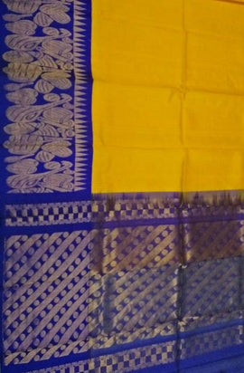 Yellow Handloom Kuppadam Silk Big Border Saree - Luxurionworld