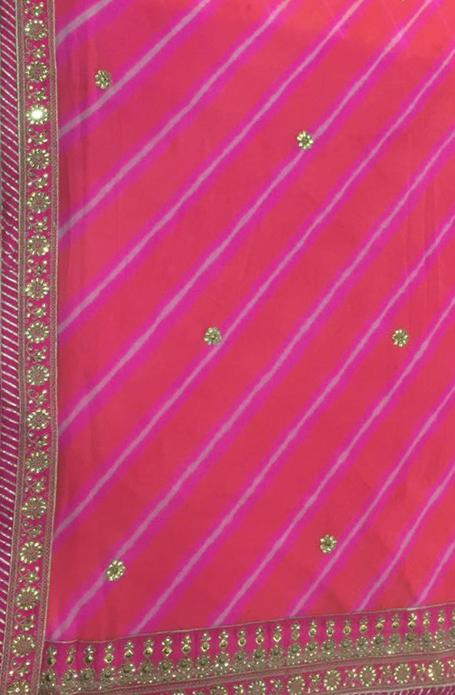 Pink Leheriya  Pure Georgette Saree With Gota Patti Work - Luxurionworld