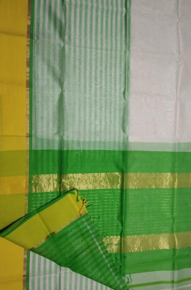 Off White Handloom Maheshwari Cotton Silk Plain Saree - Luxurionworld