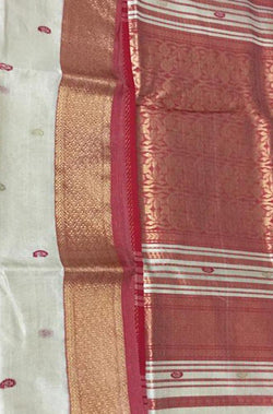 Off White Handloom Maheshwari Tissue Silk Saree - Luxurionworld