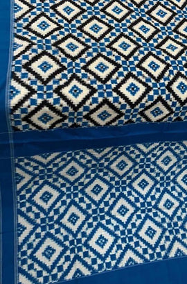 Blue Handloom Double Ikat Cotton Saree