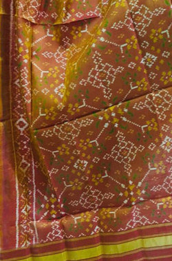 Yellow & Orange Shot Handloom Patola Pure Silk Dupatta