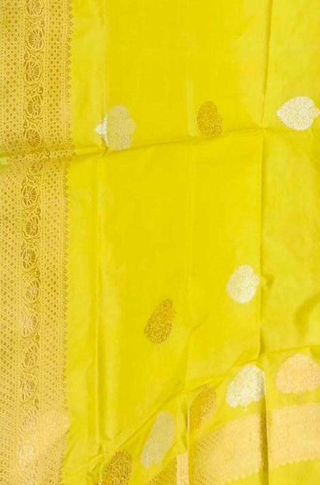 Yellow Handloom Banarasi Pure Katan Silk Sona Roopa Dupatta - Luxurionworld